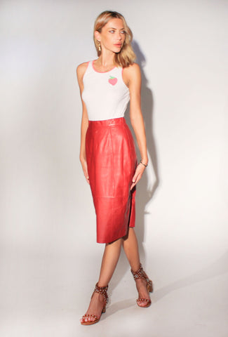 Red Hot Vintage Leather Skirt: Size 8