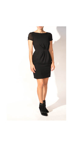 Theory Black Dress with Cap Sleeves: Size 2