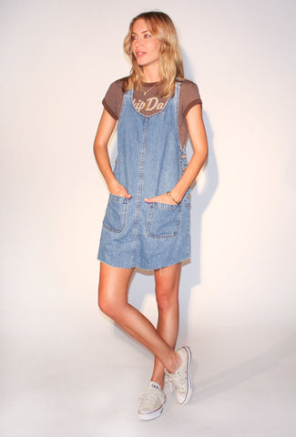 Street Chic Raw Hem Denim Overall Dress: Size Medium