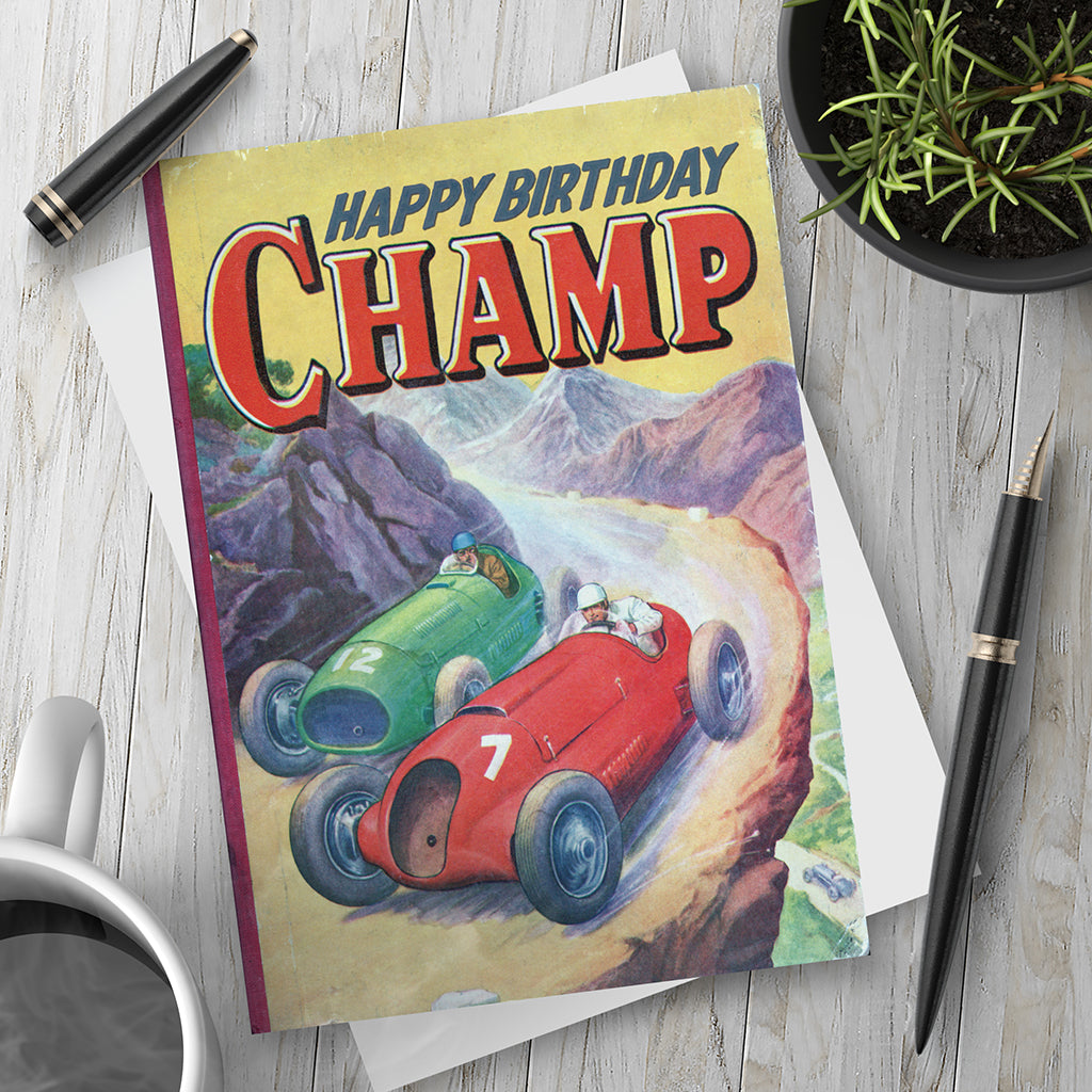 Happy Birthday Champ. Birthday Card. - Needs & Wishes Art