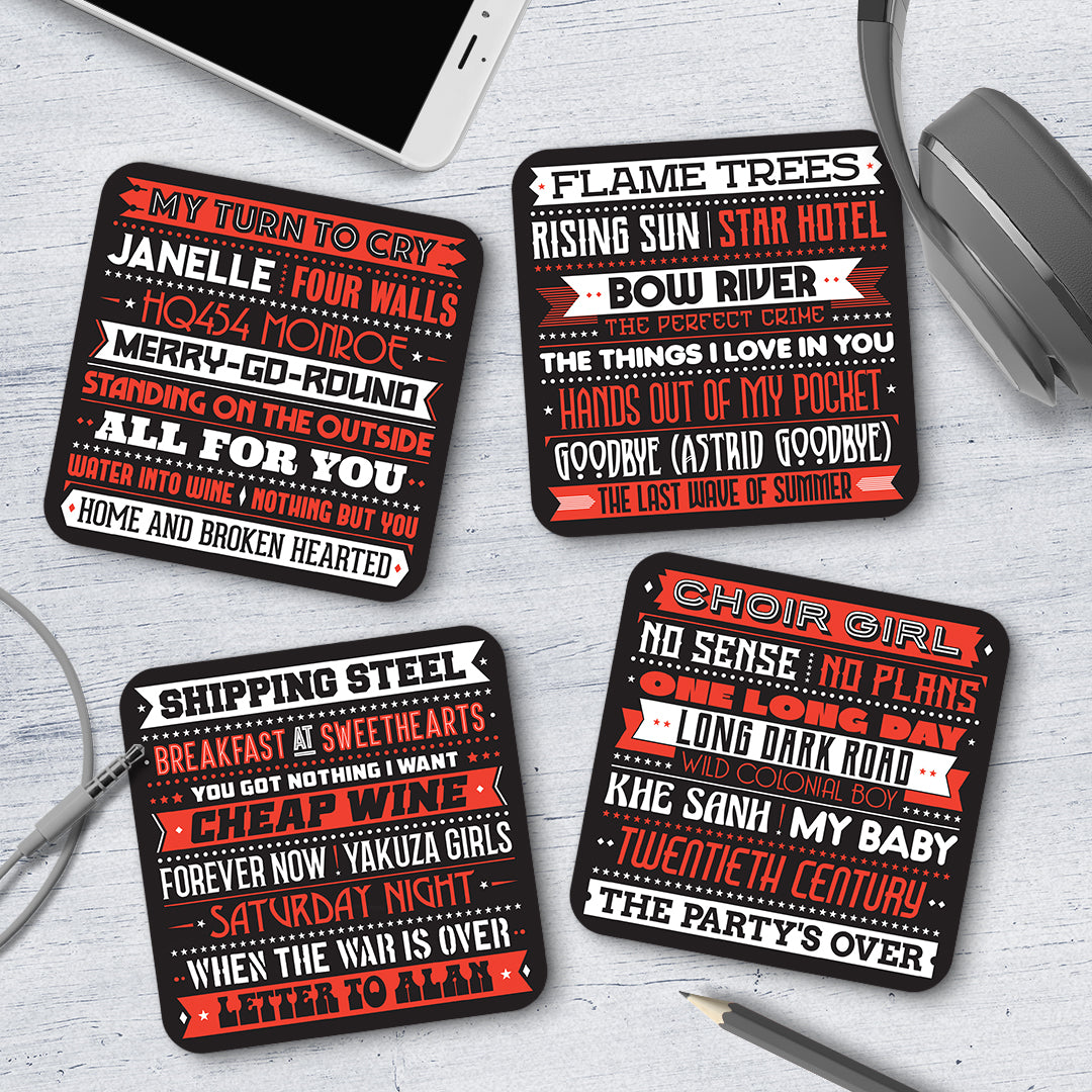 Cold Chisel Song Titles Coaster Set - Needs & Wishes Art