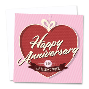 Darling Wife. Wedding Anniversary Card. - Needs & Wishes Art