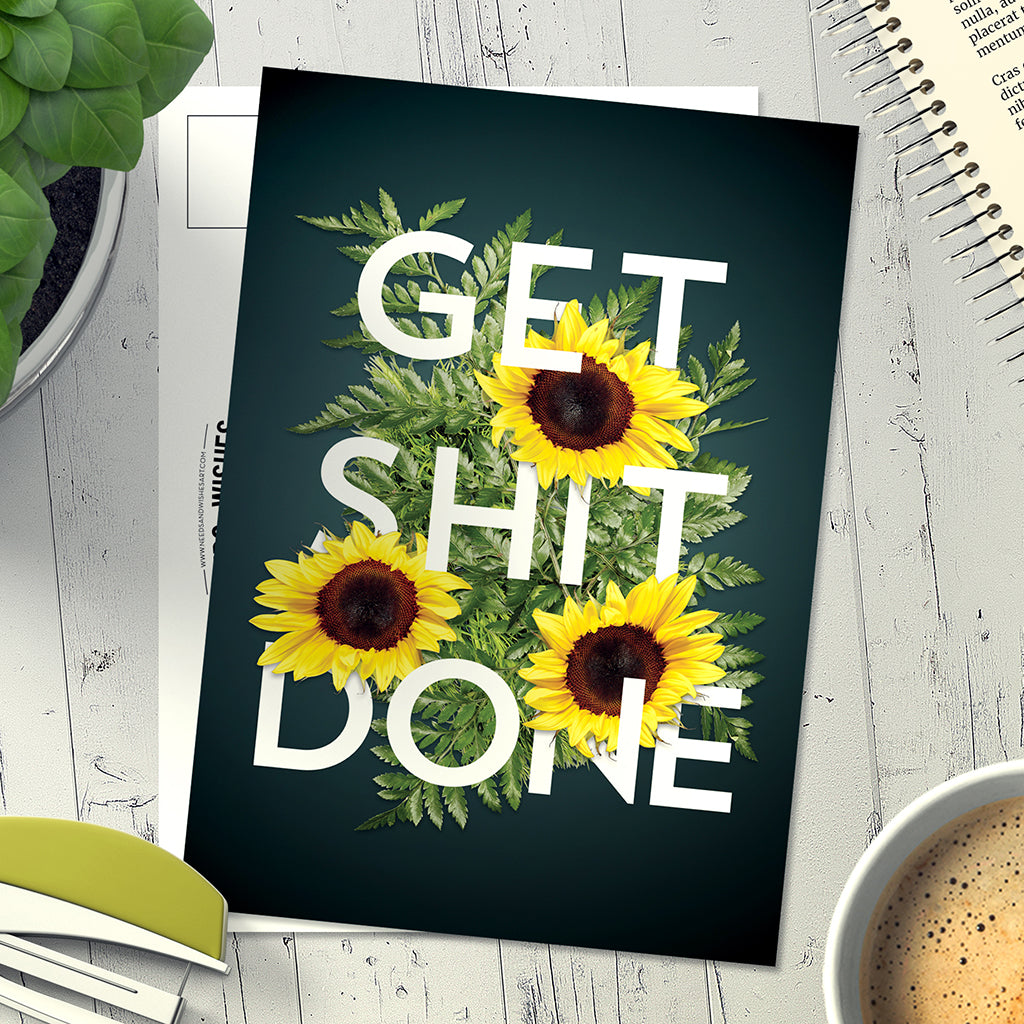Get Shit Done. 5-pack of Postcards. - Needs & Wishes Art