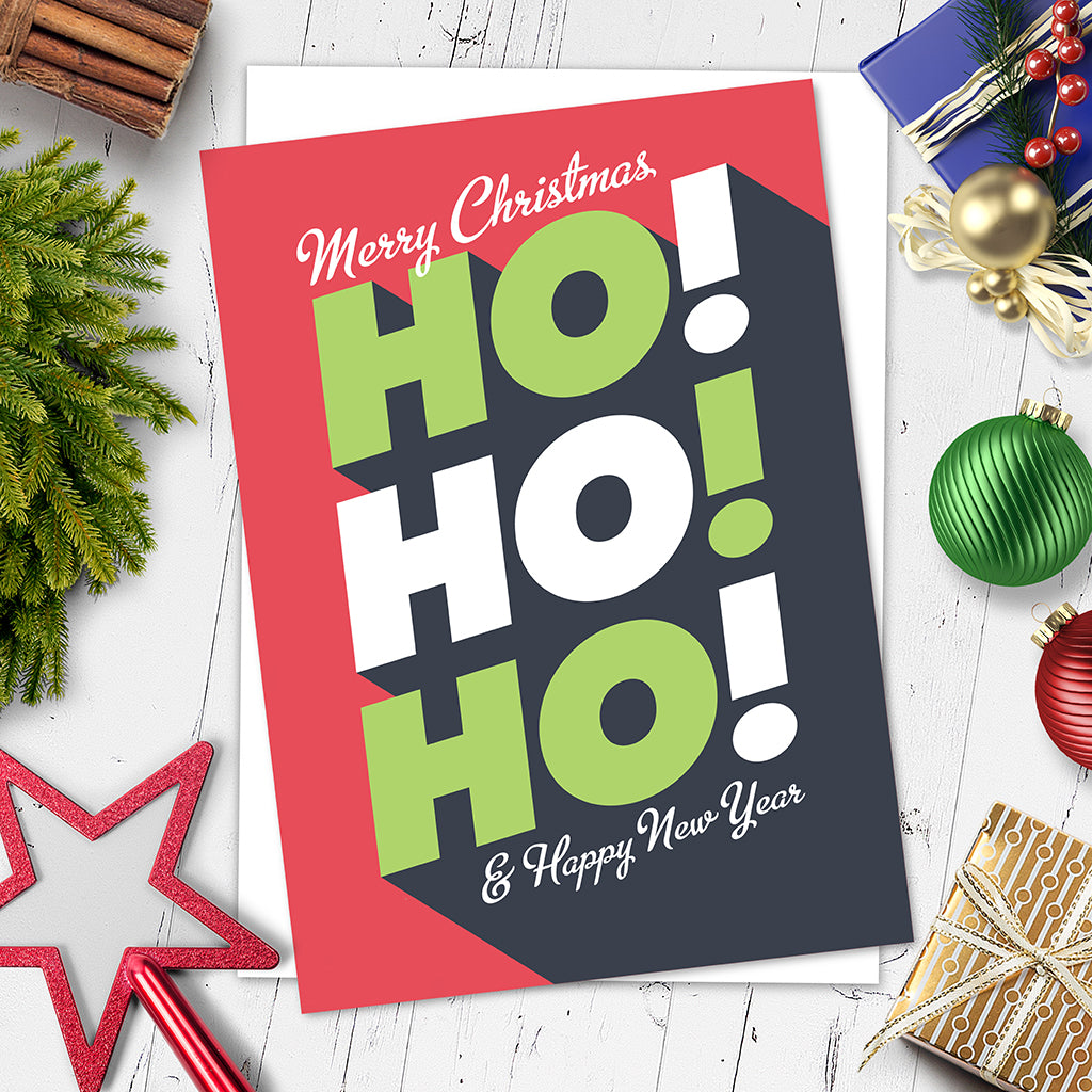 Ho!Ho!Ho! Christmas Card. (Single or 6-Pack). - Needs & Wishes Art