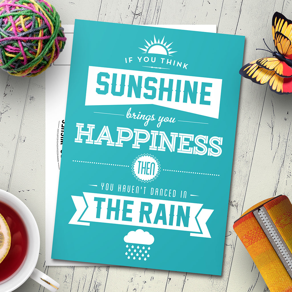 Sunshine & Rain. Inspirational Quote Postcards. (5 or 10-Pack). - Needs & Wishes Art