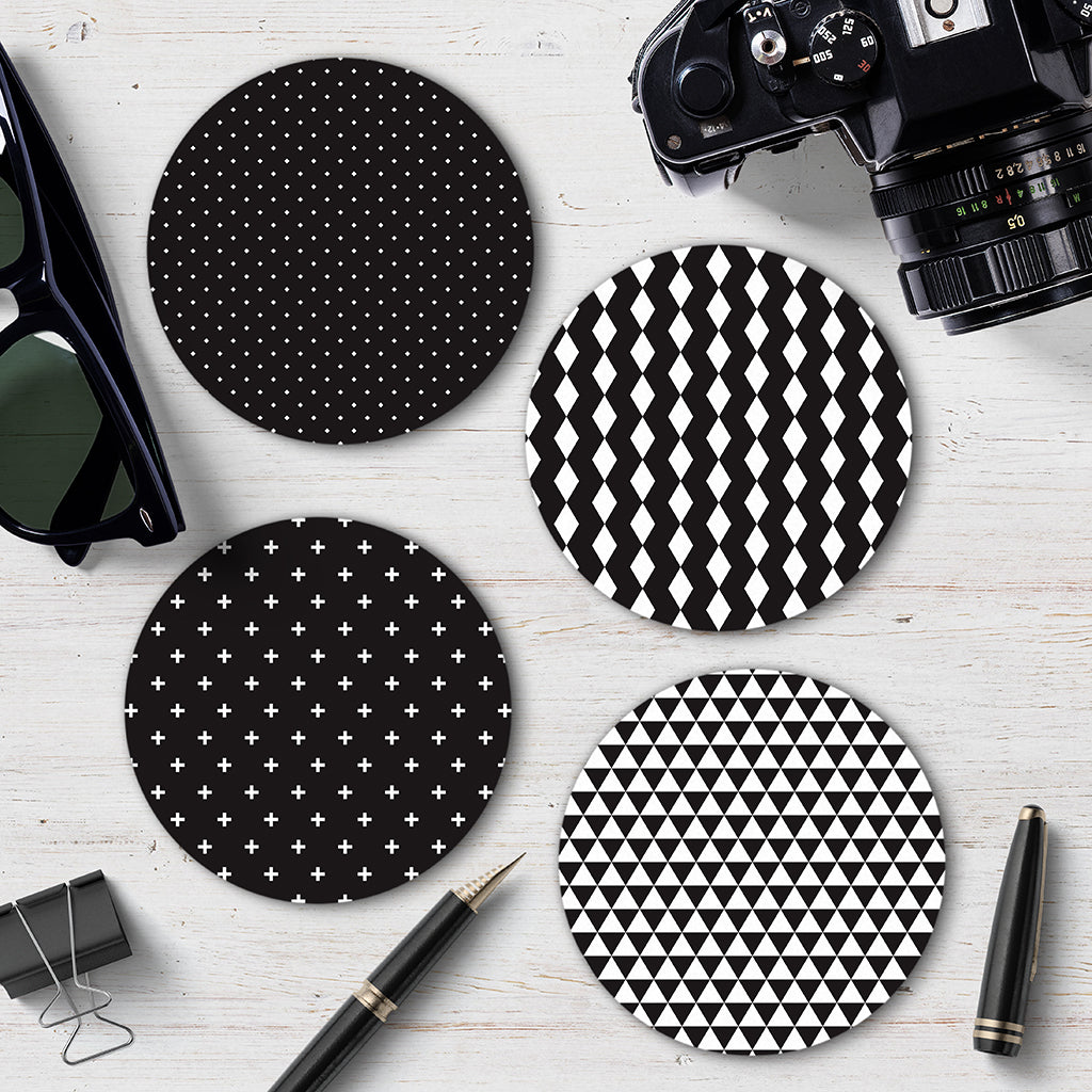 Monochrome Geometric Coaster Set 1 - Needs & Wishes Art