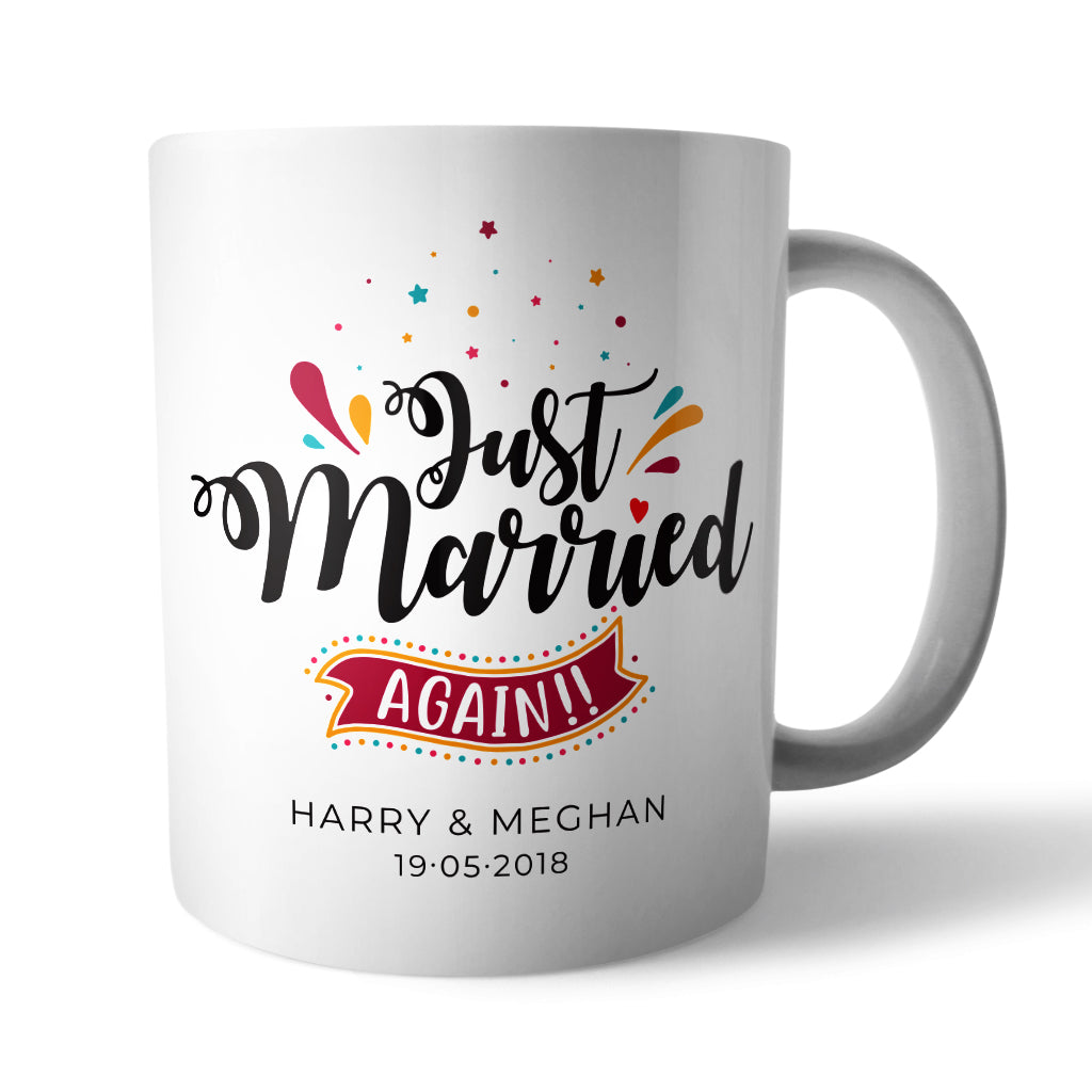 Personalised Just Married Again Ceramic Mug - Needs & Wishes Art