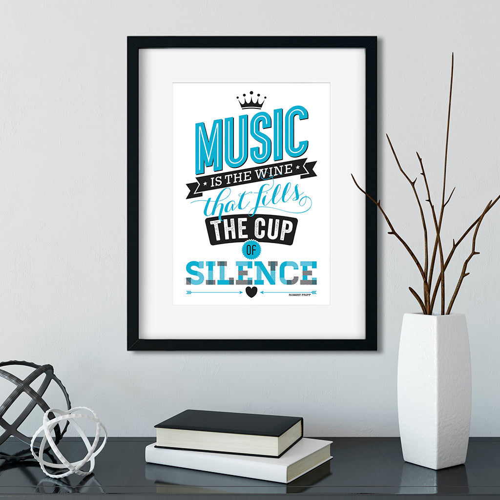 Music Is The Wine. A4 Typographic Art Print.