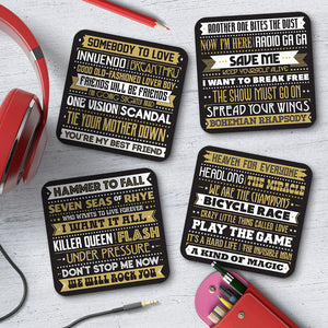 Queen Song Titles Coaster Set - Needs & Wishes Art