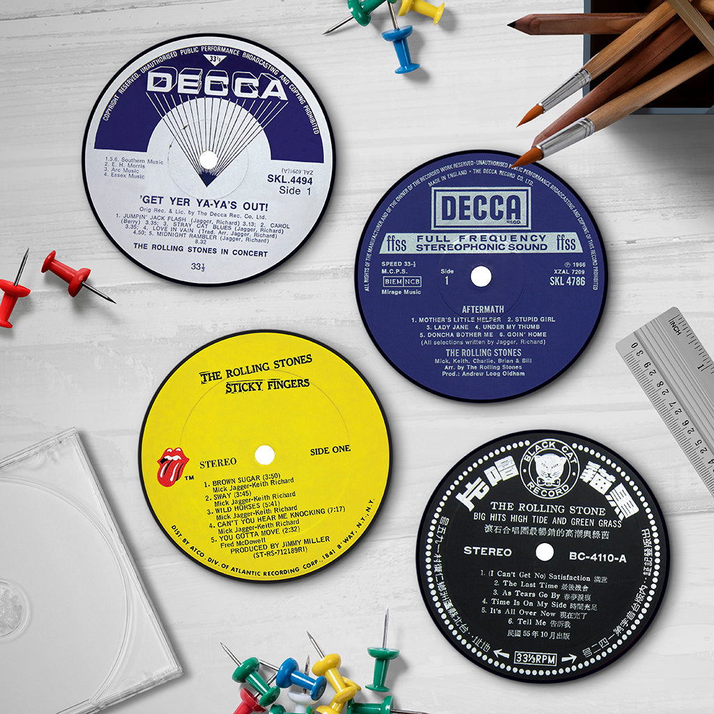 Rolling Stones Record Labels Coaster Set - Needs & Wishes Art