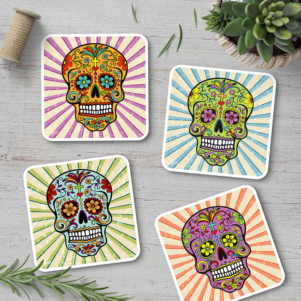 Sugar Skull Coaster Set