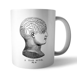 Vintage Phrenology Head Mug - Needs & Wishes Art
