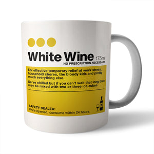White Wine Ceramic Mug - Needs & Wishes Art