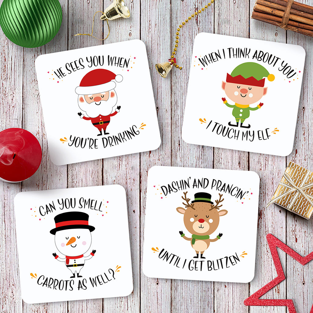 Quirky Christmas Coaster Set - Needs & Wishes Art