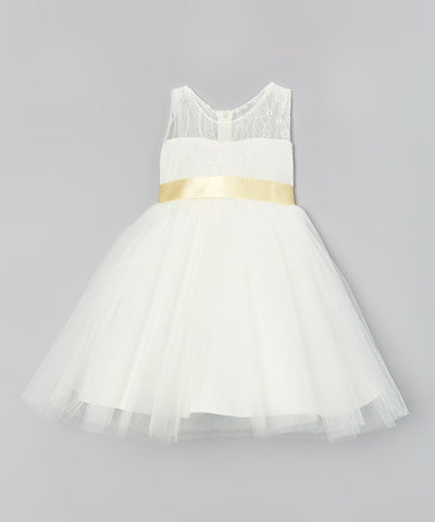 White & Beige Tulle Party Dress - Toddler & Girls