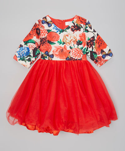 Red Floral Fit & Flare Dress - Toddler & Girls
