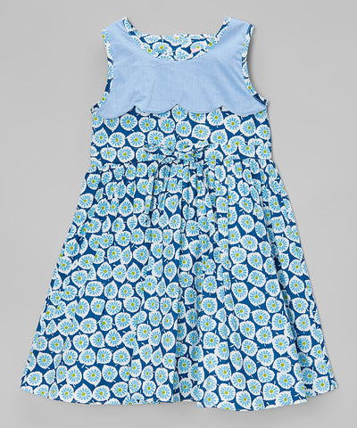 Blue Floral Pleated A-Line Dress - Girls