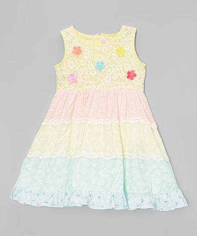 Yellow Floral Lace Peasant Dress - Girls