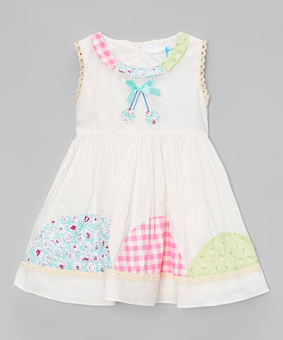 White Patchwork A-Line Dress - Toddler & Girls