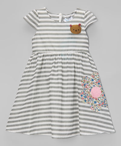 White Stripe Embroidered Cap-Sleeve Dress - Toddler & Girls