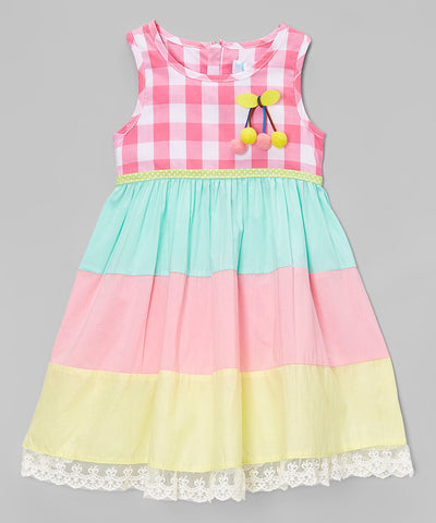 Pink Plaid Lace-Trim A-Line Dress - Toddler & Girls