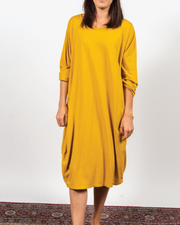 Yellow Drape Pocket Dress in Italian Jersey