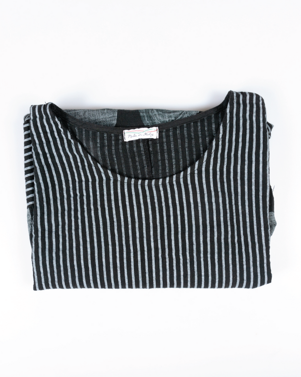 Stripe Flower Top in Italian Linen