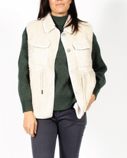 Sherpa Vest With Drawstring Waist