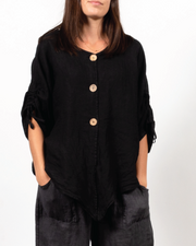 Black Button Top in Italian Linen
