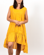Sleeveless Flowy Ruffle Dress in Italian Linen