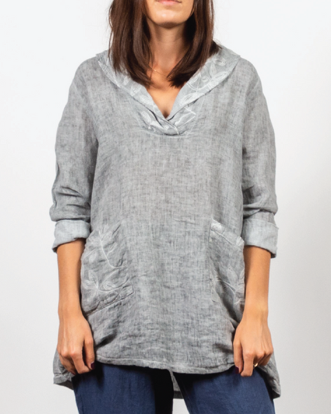 V-Neck Embroidered Top in Italian Linen