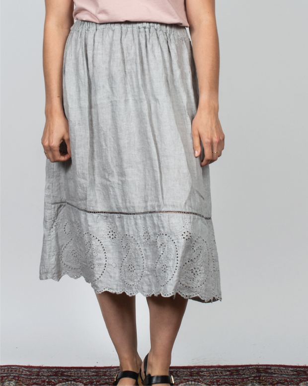 Grey Eyelet Skirt in Italian Linen