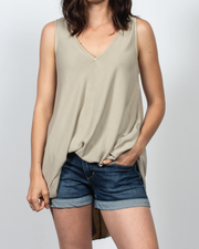 V-Neck Top in Light Lyocell