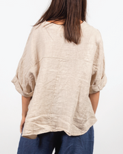 V-Neck Top in Italian Linen