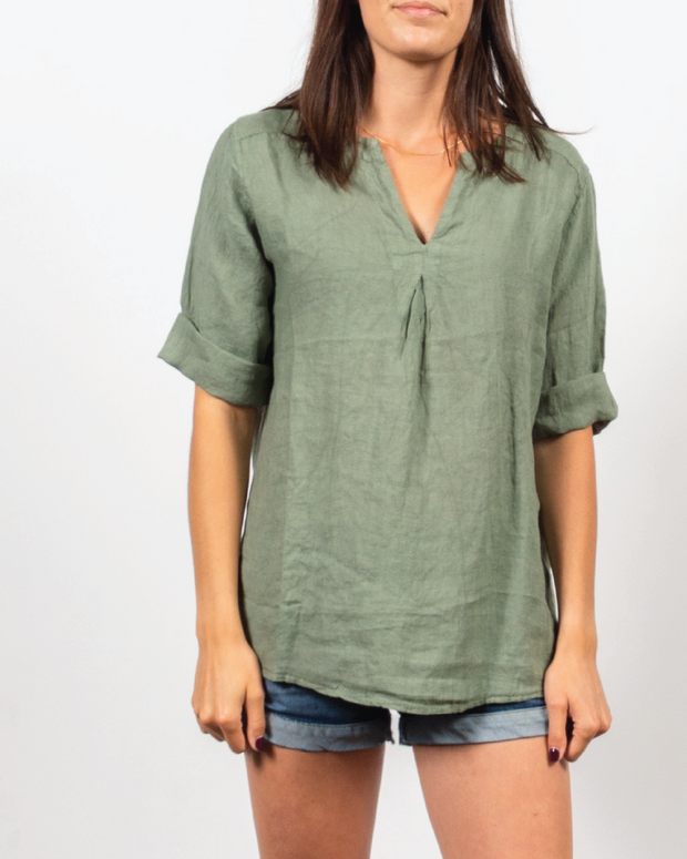 Inverted Pleat Top in Italian Linen