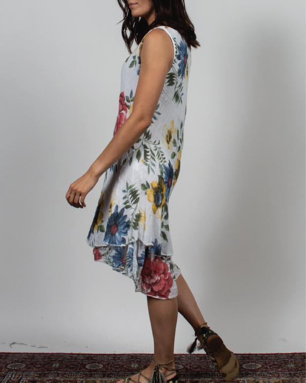 Sleeveless Floral Print Dress in Italian Linen