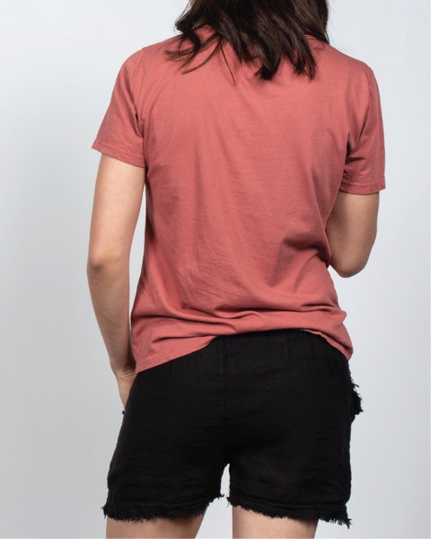 Essential V-Neck Tee in Red