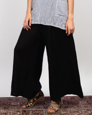 Black Wide Pant in Italian Linen