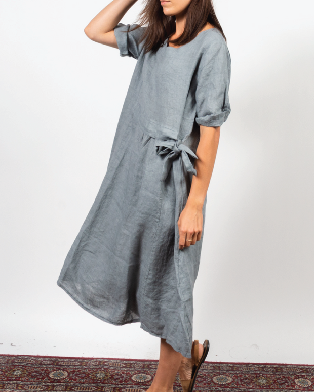 Grey Side Tie Dress in Italian Linen