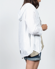 Drawstring Hooded Zip Up Top in Italian Linen