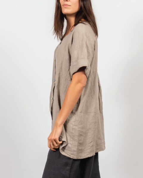 Beige Button Top in Italian Linen