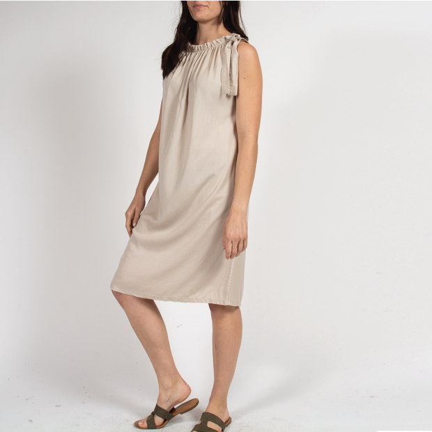 Chalk Grecian Dress with Italian Viscose
