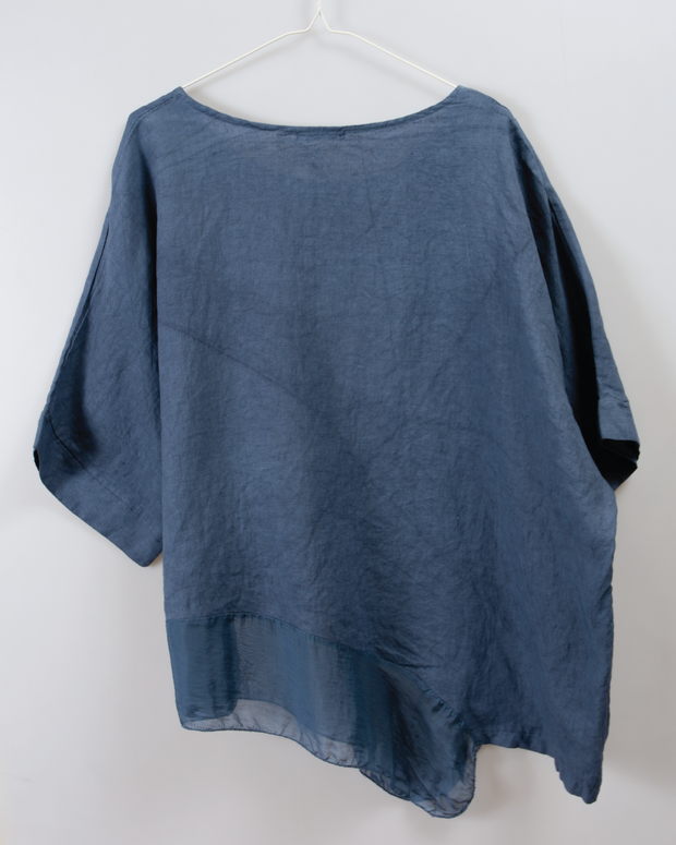Italian Linen/Silk Top in Blue