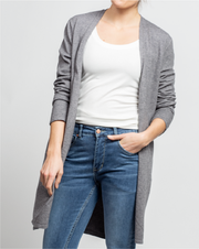 THE CORE LONG CARDIGAN IN GREY