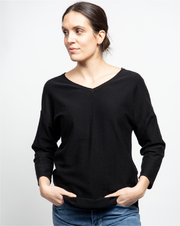 THE CORE KNITTED VNECK IN BLACK