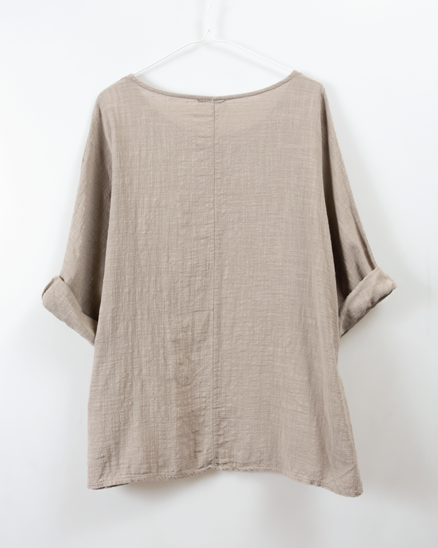 Italian Linen Top in Taupe