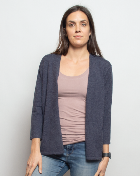 THE CORE CROPPED CARDIGAN IN SAPHIRE