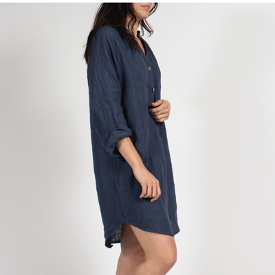 Navy Tunic Dress with Italian Linen