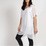 White Flow Dress in Italian Silk