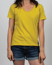Essential V-Neck Tee in Yellow